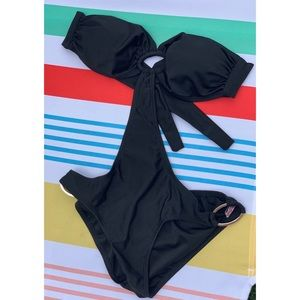 Sexy Black Bandeau Monokini One Piece Swim Suit